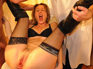 French housewife get's fisted and has her gash opened up in nasty medical exam
