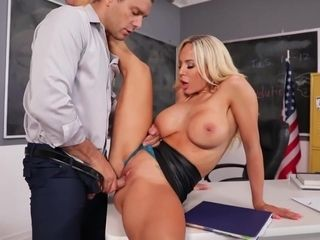 Olivia Austin is having hardcore sex in the classroom, for the first time ever and loving it