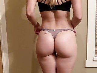 Fit girl strips out of panty thong and spreads ass