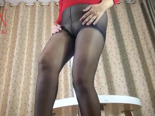 Nice lady in pantyhose and heels. Striptease at the round table 8