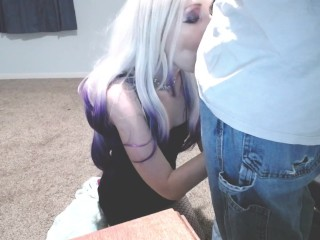 Hot Wife surprises husband with sloppy blowjob in empty house