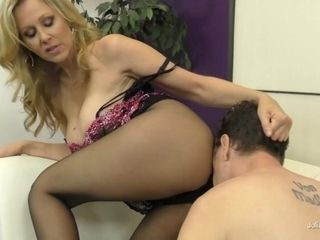 'Cougar Mistress Julia Ann Commands Her Submissive To Fuck Her Legs N' Feet!'