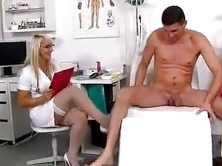 Slutty, blonde nurse, Marketa is working in a local hospital and playing with various hard cocks