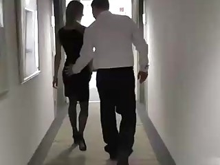 Slim blonde in a sexy, black dress is often getting fucked to earn some money