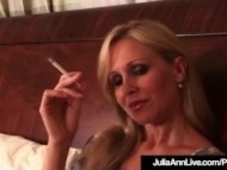"""Busty Blonde Milf Julia Ann Puffs On Cigarette Nude In Bed!"""