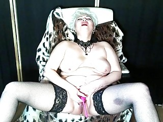 Mature beauty Aimee: dirty talk with legs spread wide ...))