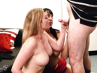Two horny milfs give a man a bj