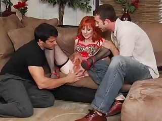Red-haired pussy gettin' stuffed by two dudes