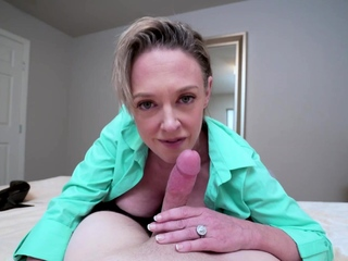 My busty stepmom comes into my room to help me clear my head