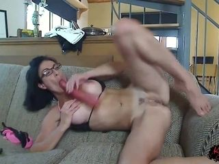Nerdy brunette with big tits is toying her soaking wet pussy and her tight ass hole