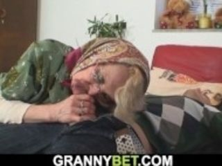 """""""Lonely 60 years old blonde sucks and rides stranger's cock"""""""