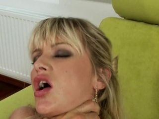 Sexually aroused platinum-blonde in tights cannot have enough wood