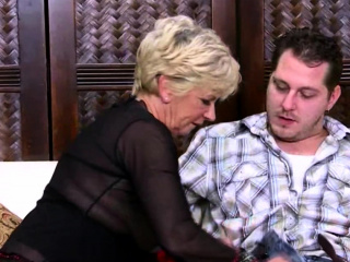 Chesty blondie grannie tempted by a boy