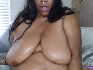 LIVE Cam BBW Sloppy BBC Dildo BJ Nipple Sucking Oil Belly and Nipple Clamps