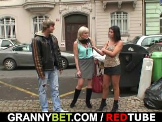 Granny prostitute pleases young stud
