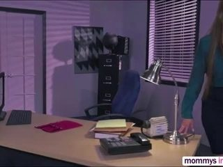 Sexy horny babes Gwen and Darla in a hot threesome sex in the office