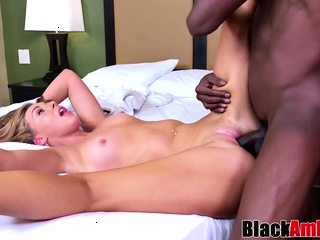 Cock-squeezing blondie Maddi astonished by big black cock screwing and facial cumshot