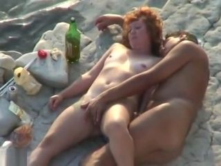 Voyeur Guy Wanking And Fuck Redhead Girl On A Public Beach