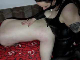 My sissy faggot cries and moans as a bitch while I'm pegging his ass