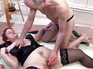 Extremely old German Couple Suprised by Granny Neigbour for Threesome