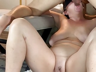 Naked sloppy face fucking showing feet and drooling on tits