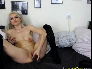 Blondie cougar likes gargling and nailing fuck sticks live on web cam