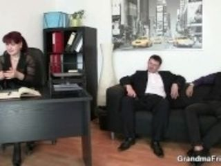 """Mature office bitch pleases two cocks at once"""