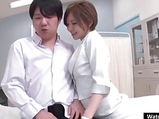 Japanese milf is working in a local hospital and often fucking guys who get hard- ons