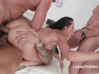 Brunette in black shoes with high heels, Texas Patty got fucked balls deep, in the ass