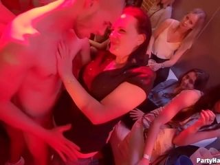 Bitchy girls are partying in the night club, getting drunk and having group sex adventures