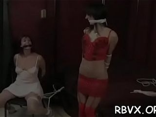 Mature wench gets titillated while being belted cock-squeezing