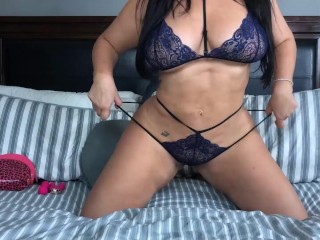 'Huge BOOBed Thick Latina Angelina Castro Tries Her New Vibrators In Bed!'