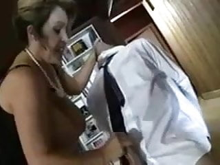 Son Gets a Brutal  Handjob From Mom With Big Tits