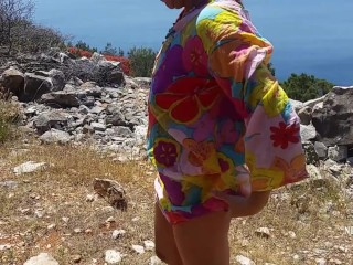 nippleringlover flashing pierced tits & pussy & ass on dirt road by the sea peeing standing outside