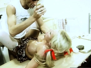 Cindy Behr food fetish fucking Pascal White in kitchen