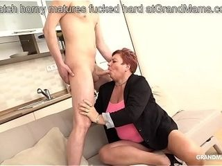 Ginger-haired German grandmother manhandles cousin with her monstrous udders