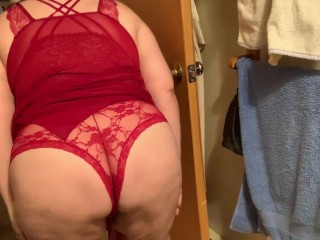 Trying on new red lingerie crotchless butthole bbw