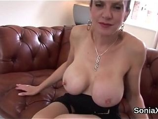 Unfaithful brit mature doll sonia showcases her monster breasts