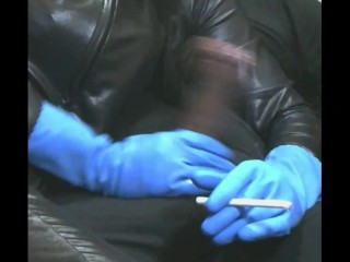 Smoking Wife in Blue Rubber Gloves 2