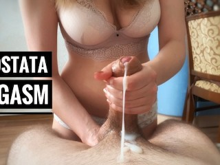 Prostate massage finished with blocked orgasm and POT