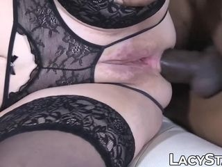 Busty granny gives blowjob before interracial anal drilling