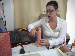 Woman secretary gets fucked with a dildo. Hidden camera in the office Part 2