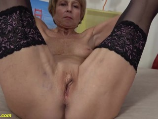 skinny old grandma first time naked on video