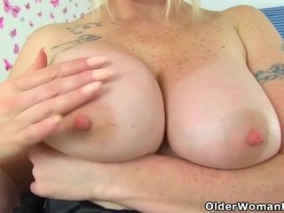 Big titted woman in shoes with high heels are playing with sex toys, all day long