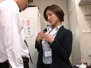 Gorgeous japanese office angel provides her slit to her boss