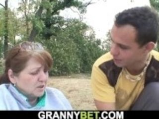 """""""Guy helps injured busty hairy pussy granny"""""""