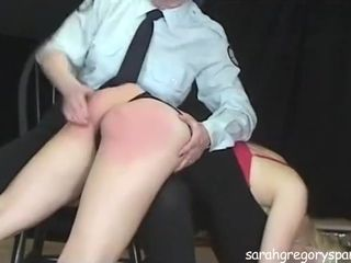 Mature Cop Spanks & Punishes Bratty Girl In Jail