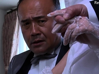 Japanese wife get stripped clothes by her husband's boss