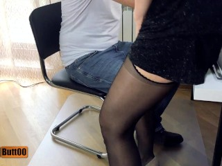 TEASER Sedducting secretary: shoejob, footjob, handjob, cum on stockings