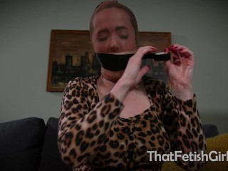 Sheer Pantyhose Feet & A Tight Self-Gag
